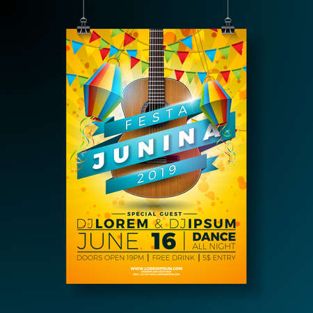 Festa Junina Party Flyer Illustration with Typography Design and Acoustic Guitar. Flags and Paper Lantern on Yellow Background. Vector Brazil June Festival Design for Invitation or Holiday Celebration Poster Vektorové ilustrace