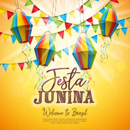 Festa Junina Illustration avec drapeaux de fête et lanterne en papier sur fond jaune. Vector Brésil juin Festival Design pour carte de voeux, invitation ou affiche de vacances