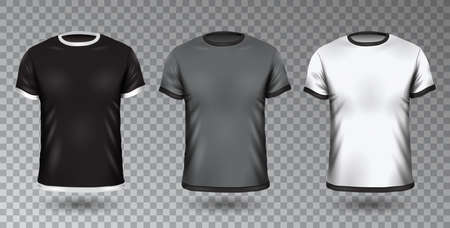 Realistic Unisex Shirt Design Tempale on Transparent Background, Vector Blank Black, Gray and White T-shirt Mock-Up Clothing Set