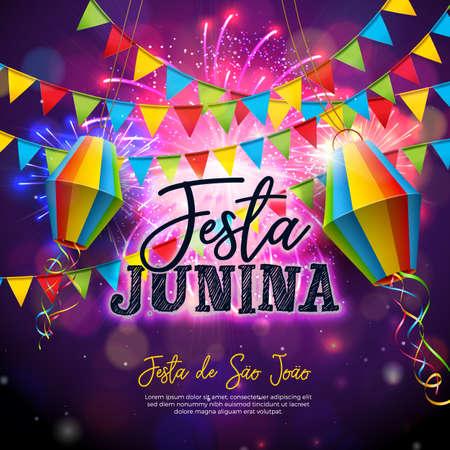 Festa Junina Illustration with Flags and Paper Lantern on Firework Background. Vector Brazil June Festival Design for Invitation or Holiday Celebration Poster