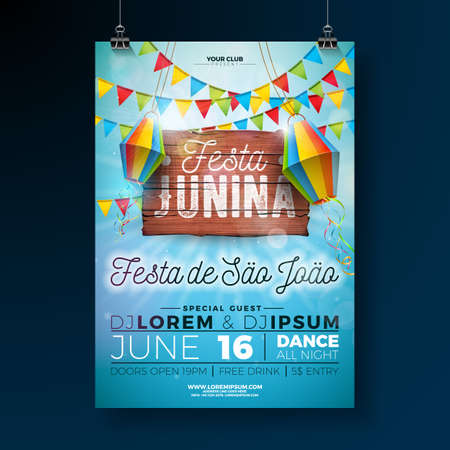 Festa Junina Party Flyer Illustration with typography design on vintage wood board. Flags and Paper Lantern on Blue Sky Background. Vector Brazil June Festival Design for Invitation or Holiday Celebration Poster. Ilustrace