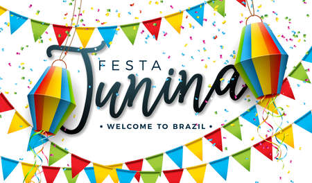 Festa Junina Illustration with Party Flags and Paper Lantern on White Background. Vector Brazil June Festival Design for Greeting Card, Invitation or Holiday Poster Vektorové ilustrace