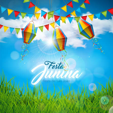 Festa Junina Illustration with Party Flags and Paper Lantern on Blue Cloudy Sky Background. Vector Brazil June Festival Design for Greeting Card, Invitation or Holiday Poster