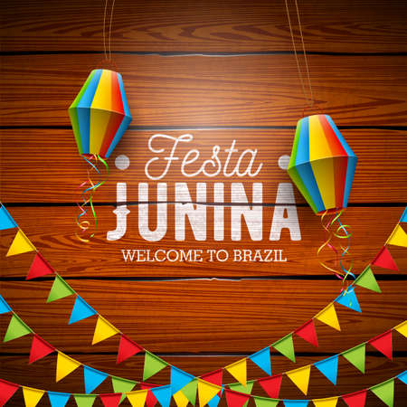 Festa Junina Illustration with Party Flags and Paper Lantern on Vintage Wood Background. Vector Brazil June Festival Design for Greeting Card, Invitation or Holiday Poster.