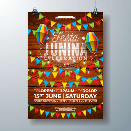Festa Junina Party Flyer Design with Flags, Paper Lantern and Typography Design on Vintage Wood Background. Vector Traditional Brazil June Festival Illustration for Invitation or Holiday Celebration Poster.