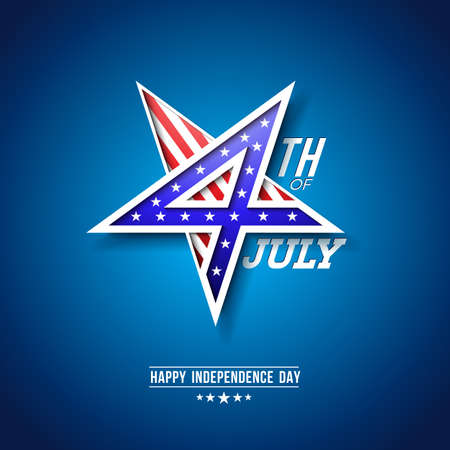 4th of July Independence Day of the USA in Star Symbol