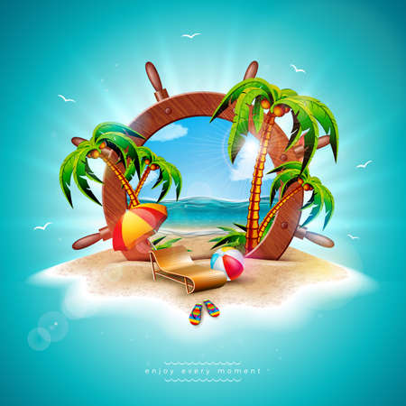Vector Summer Holiday Illustration with Ship Steering Wheel and Exotic Palm Leaves on Tropical Island Background. Exotic Plants, Flower, Beach Ball, Surf Board and Sunshade for Banner, Flyer, Invitation, Brochure, Poster or Greeting Card Illustration