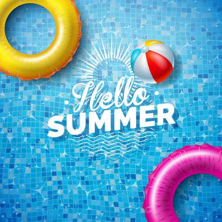 Summer Illustration with Float on Water in the Tiled Pool Background. Vector Summer Holiday Design Template for Banner, Flyer, Invitation, Brochure, Poster or Greeting Card. Ilustração