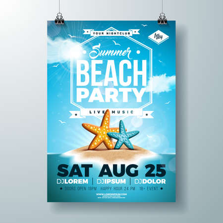 Vector Summer Party Flyer Design with Starfish and Tropical Island on Ocean Blue Background. Summer Holiday Celebration Design template with Typography Letter for Banner, Flyer, Invitation, Poster.