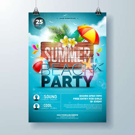 Vector Summer Beach Party Flyer Design with Flower, Palm Leaves and Starfish on Ocean Blue Background. Summer Holiday Illustration with Vintage Wood Board, Tropical Plants and Cloudy Sky for Banner, F  イラスト・ベクター素材