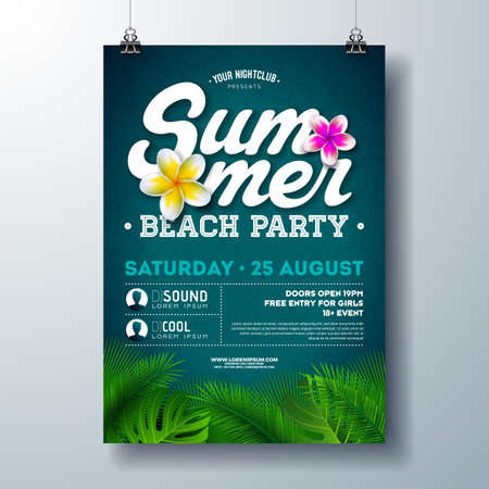 Vector Summer Beach Party Flyer Design with Flower and Tropical Palm Leaves on Blue Background. Summer Holiday Illustration with Exotic Plants and Typography Letter for Banner, Flyer, Invitation or Poster