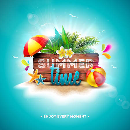 Vector Summer Time Holiday Illustration with Typography Letter on Vintage Wood Board Background. Tropical Plants, Flower, Beach Ball and Sunshade on Paradise Island for Banner, Flyer, Invitation, Brochure, Poster or Greeting Card.