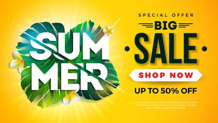 Summer Sale Design with Exotic Palm Leaves and Typography Letter on Sun Yellow Background. Tropical Vector Special Offer Illustration with Coupon, Voucher, Banner, Flyer, Promotional Poster, Invitation or greeting card. Ilustracja