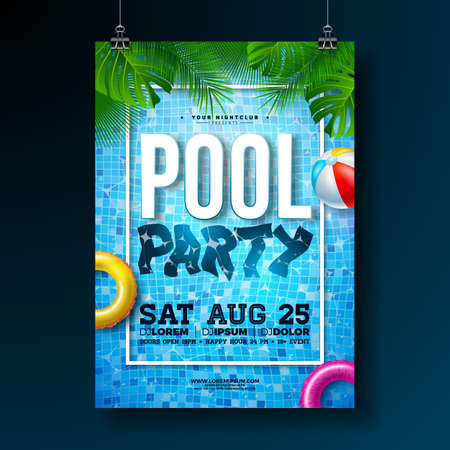 Summer pool party poster design template with palm leaves, water, beach ball and float on blue ocean landscape background. Vector holiday illustration for banner, flyer, invitation, poster.