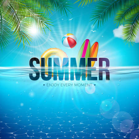 Vector Summer Illustration with Beach Ball, Palm Leaves, Surf Board and 3d Typography Letter on Underwater Blue Ocean Background. Realistic Summer Vacation Holiday Design for Banner, Flyer, Invitation, Brochure, Poster or Greeting Card Ilustracja