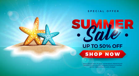 Summer Sale Design with Starfish on Tropical Island Background. Vector Special Offer Illustration with Blue Ocean Landscape for Coupon, Voucher, Banner, Flyer, Promotional Poster, Invitation or greeting card.