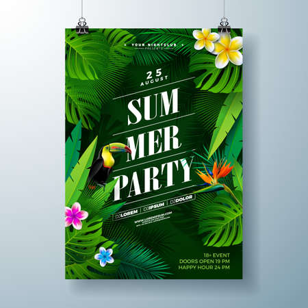 Summer Party Flyer Design with flower, tropical palm leaves and toucan bird on green background. Vector Summer Beach Celebration Design template with nature floral elements, tropical plants and typograpy letter for banner, flyer, invitation, holiday poster.