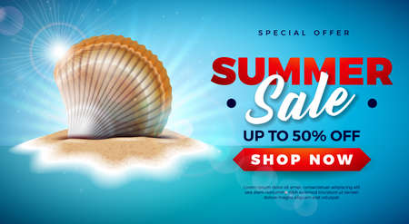Summer Sale Design with Shell on Tropical Island Background. Vector Special Offer Illustration with Blue Ocean Landscape for Coupon, Voucher, Banner, Flyer, Promotional Poster, Invitation or greeting card. Ilustracja