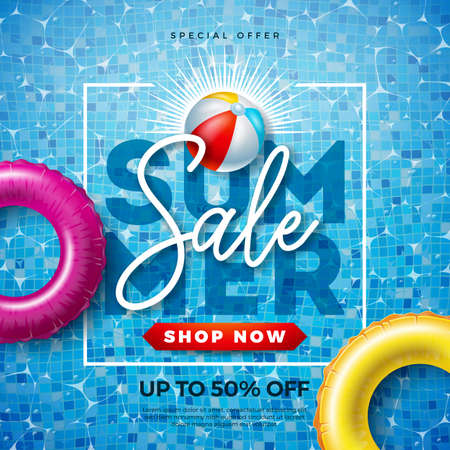 Summer Sale Design with Typography Letter and Float on Water in the Tiled Pool Background. Vector Vacation Illustration with Special Offer Typography for Coupon, Voucher, Banner, Flyer, Promotional Poster, Invitation or greeting card.