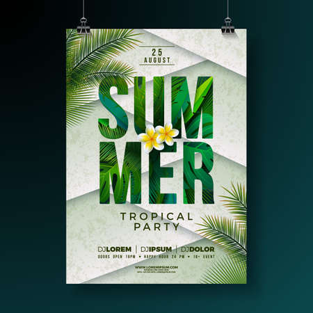 Vector Summer Party Flyer Design with Flower and Tropical Palm Leaves on Abstract Background. Summer Holiday Illustration with Exotic Plants and Typography Letter for Banner, Flyer, Invitation or Poster