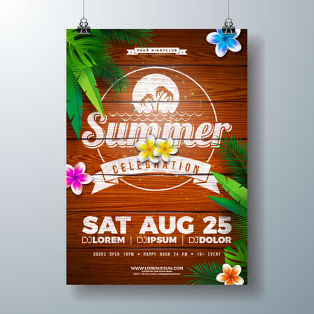 Vector Summer Party Flyer Design with Flower and Tropical Palm Leaves on Vintage Wood Background. Summer Holiday Illustration with Exotic Plants and Typography Letter for Banner, Flyer, Invitation or Poster.
