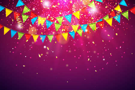 Celebration Vector Illustration with Colorful Party Flag and Falling Confetti on Shiny Violet Background. Holiday Design Template for Birthday Invitation. Greeting Cards or Party Poster. Ilustração