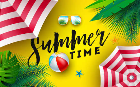 Summer Time Illustration with Sunshade, Beach Ball and Sunglasses on Sun Yellow Background. Vector Tropical Holiday Design with Exotic Palm Leaves and Typography Letter for Banner, Flyer, Invitation, Brochure, Poster or Greeting Card.