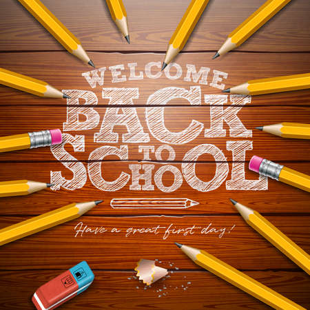 Back to school design with graphite pencil and typography lettering on vintage wood texture background. Vector School illustration for greeting card, banner, flyer, invitation, brochure or promotional  イラスト・ベクター素材