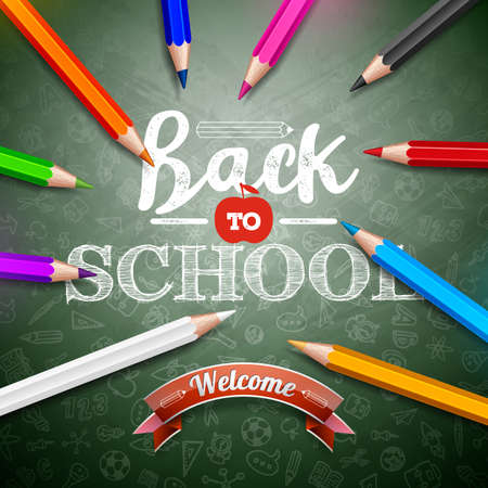 Back to school design with colorful pencil and typography lettering on green chalkboard background. Vector education concept illustration with hand drawn doodles for greeting card, banner, flyer, invi