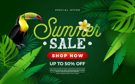Summer Sale Design with Flower, Toucan Bird and Tropical Palm Leaves on Green Background. Vector Holiday Illustration with Special Offer Typography Letter for Coupon, Voucher, Banner, Flyer, Promotional Poster, Invitation or Greeting Card