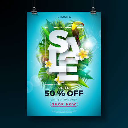 Summer Sale Poster Design Template with Flower, Toucan Bird and Exotic Leaves on Blue Background. Tropical Floral Vector Illustration with Special Offer Typography for Coupon, Voucher, Banner, Flyer, Promotional Poster, Invitation or greeting card Ilustracja