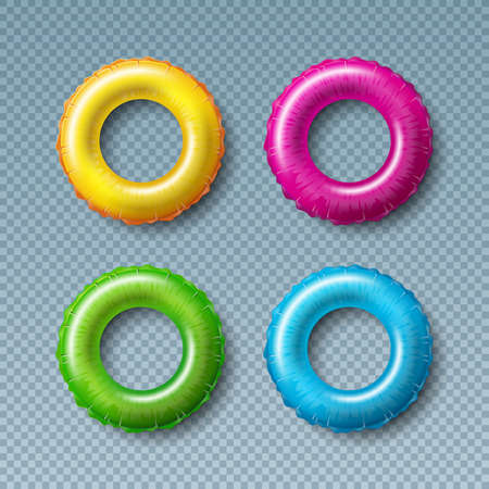 Vektor-Illustration mit bunten Float-Sammlung auf transparentem Hintergrund isoliert. Vektor-Ferien-Design-Elemente mit aufgeblasenem Schwimmring oder Rettungsring-Set für Banner, Flyer, Einladung, Broschüre, Party-Poster oder Grußkarte. Vektorgrafik