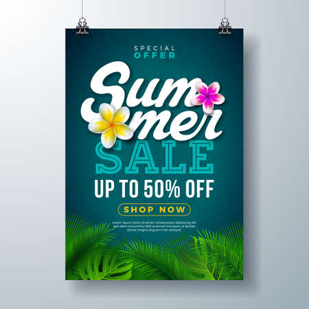 Summer Sale Poster Design Template with Flower and Exotic Palm Leaves on Blue Background. Tropical Floral Vector Illustration with Special Offer Typography for Coupon, Voucher, Banner, Flyer, Promotional Poster, Invitation or greeting card.