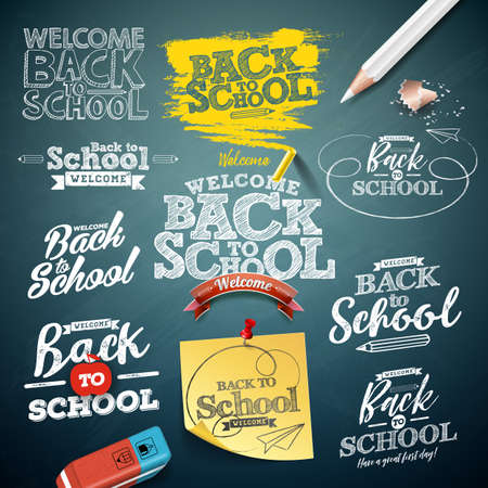 Back to school illustration with typography lettering set on chalkboard background. Vector education concept design collection for greeting card, banner, flyer, invitation, brochure or promotional pos