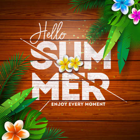 Summer Paradise Holiday Design with Flower and Tropical Plants on Vintage Wood Background. Vector Illustration with Typography Letter, Exotic Palm Leaves and Phylodendron for Banner, Flyer, Invitation, Brochure, Poster or Greeting Card