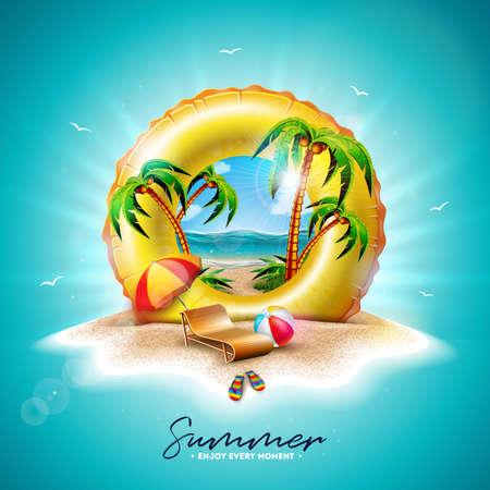 Vector ilustración de vacaciones de verano con flotador amarillo y palmeras exóticas en el fondo de la isla tropical. Flor, pelota de playa, sombrilla y paisaje de océano azul para pancarta, volante, invitación, folleto, póster o tarjeta de felicitación.
