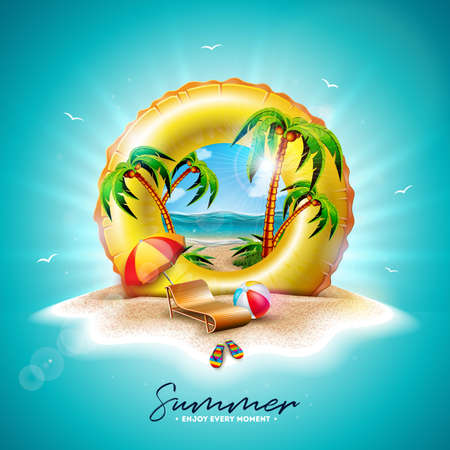 Vector Summer Holiday Illustration with Yellow Float and Exotic Palm Trees on Tropical Island Background. Flower, Beach Ball, Sunshade and Blue Ocean Landscape for Banner, Flyer, Invitation, Brochure, Poster or Greeting Card.