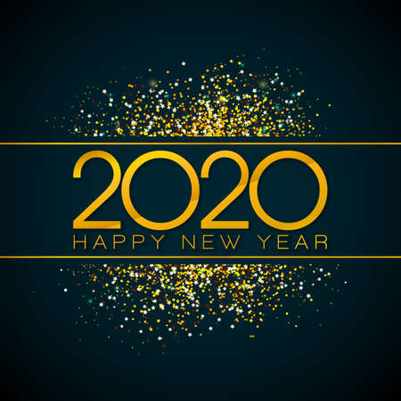 2020 Happy New Year illustration with gold number and falling confetti on black background. Vector Holiday design for flyer, greeting card, banner, celebration poster, party invitation or calendar.