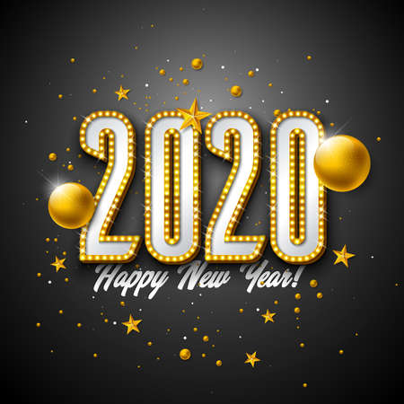 2020 Happy New Year illustration with 3d light bulb typography lettering and Christmas ball on black background. Vector Holiday design with shiny bright lights for flyer, greeting card, banner, celebration poster, party invitation or calendar. Ilustração