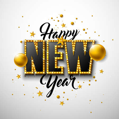 2020 Happy New Year illustration with 3d typography lettering, and Christmas ball on white background. Vector Holiday design with shiny bright lights for flyer, greeting card, banner, celebration poster, party invitation or calendar. Ilustração