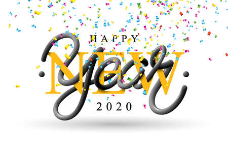 2020 Happy New Year illustration with 3d typography lettering and falling confetti on white background. Vector Holiday design for flyer, greeting card, banner, celebration poster, party invitation or calendar Standard-Bild - 132477213