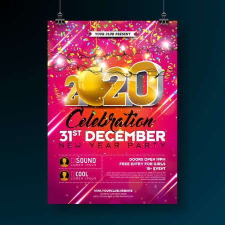 New Year Party Celebration Poster Template illustration with 3d 2020 Number and Falling Colorful Confetti on Red Background. Vector Holiday Premium Invitation Flyer or Promo Banner. Ilustração