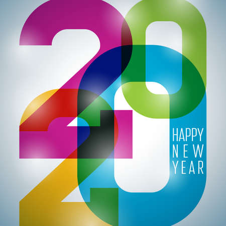 2020 Happy New Year illustration with typography number and shiny colorful background. Vector Holiday design for flyer, greeting card, banner, celebration poster, party invitation or calendar.