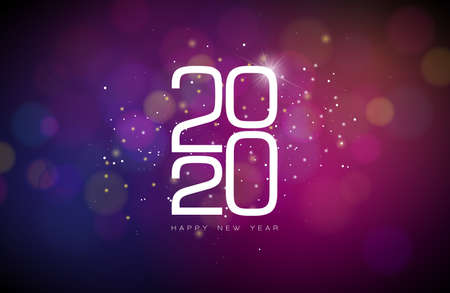 2020 Happy New Year illustration with white number on shiny background. Vector Holiday design for flyer, greeting card, banner, celebration poster, party invitation or calendar.
