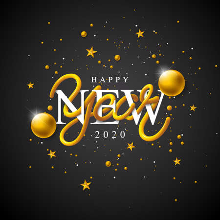 2020 Happy New Year illustration with 3d typography lettering and falling confetti on white background. Vector Holiday design for flyer, greeting card, banner, celebration poster, party invitation or calendar.