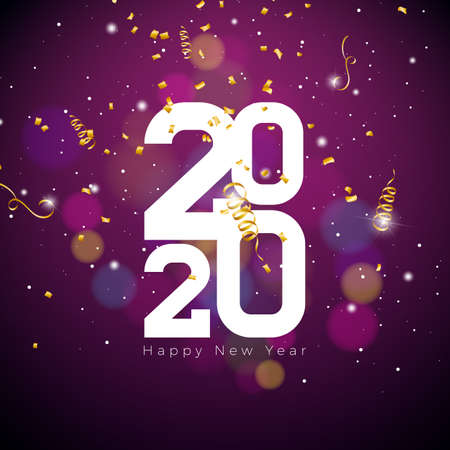 2020 Happy New Year illustration with white number and falling confetti on shiny background. Vector Holiday design for flyer, greeting card, banner, celebration poster, party invitation or calendar.