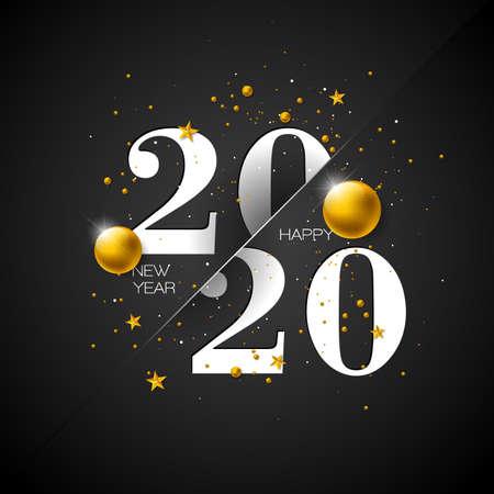 2020 Happy New Year illustration with typography number on dark background. Vector Holiday design for flyer, greeting card, banner, celebration poster, party invitation or calendar. Ilustração