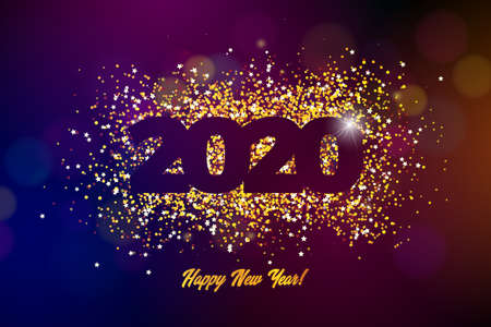 2020 Happy New Year illustration with shiny number on dark background. Vector Holiday design for flyer, greeting card, banner, celebration poster, party invitation or calendar.