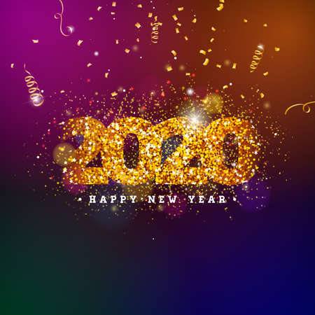 2020 Happy New Year illustration with shiny number and falling confetti on dark background. Vector Holiday design for flyer, greeting card, banner, celebration poster, party invitation or calendar. Ilustração