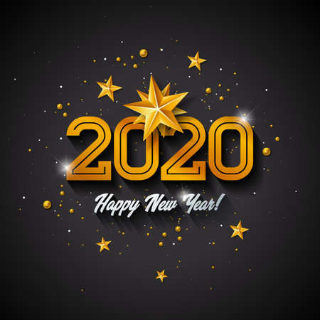 2020 Happy New Year illustration with 3d gold number, christmas ball and lights garland on dark background. Vector Holiday design for flyer, greeting card, banner, celebration poster, party invitation or calendar.